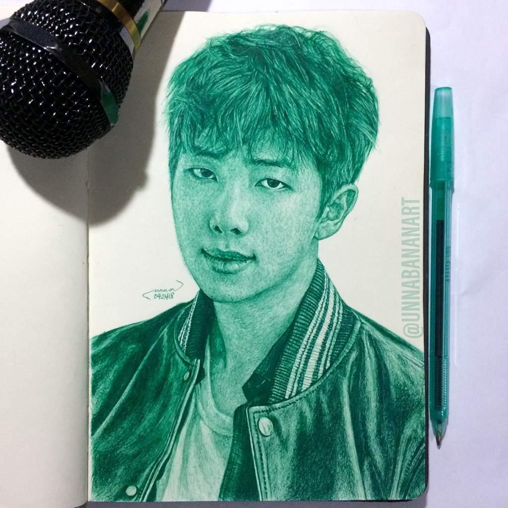 RM ballpoint pen drawing ✍🏻💚🎤 | ARMY's Amino