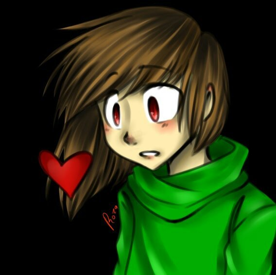 chara first art in paint tool sai 2 glitchtale amino