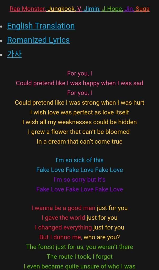Fake love lyrics | ARMY's Amino