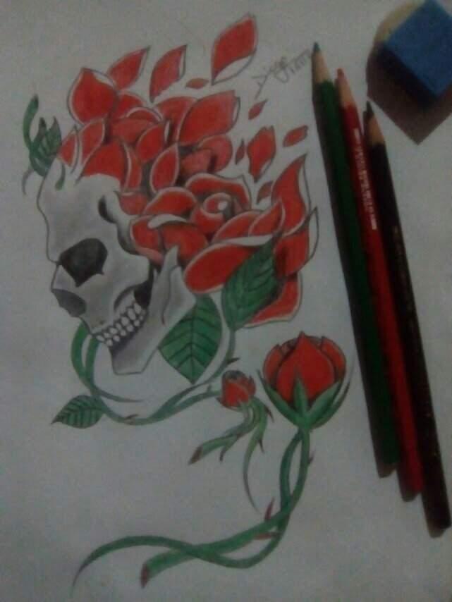 Caveiras E Rosas Estudo Tatuagem Amino