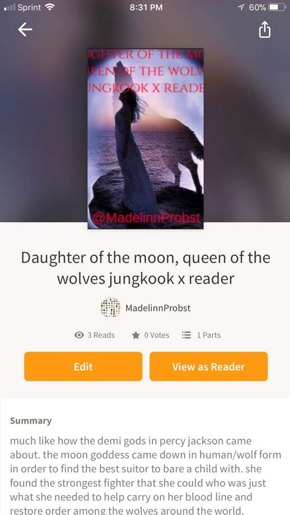 Daughter of the moon, queen of the wolves jungkook x reader