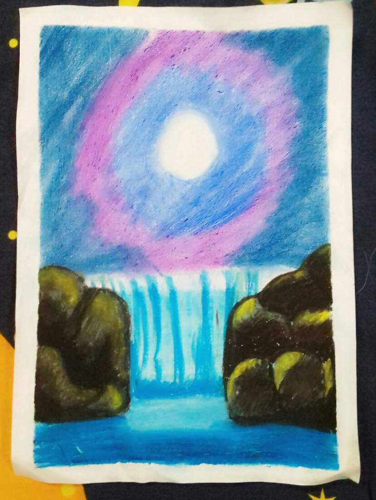 My Night Time Waterfall Oil Pastel Color Scenery Army S Amino