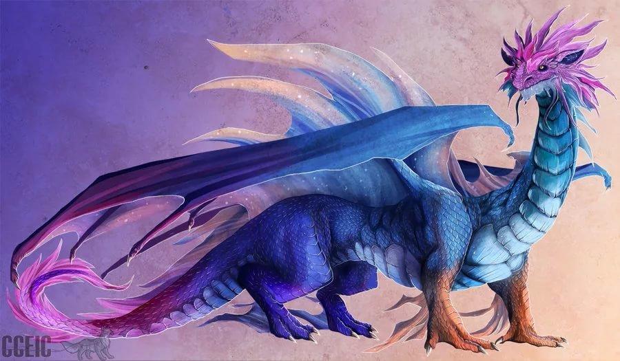 Картинки с цветными драконами