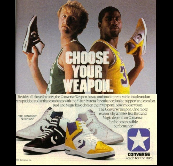 huge selection of 13785 b5509 In 1986, Converse came out with the Converse Weapon 86 Bird vs Magic.