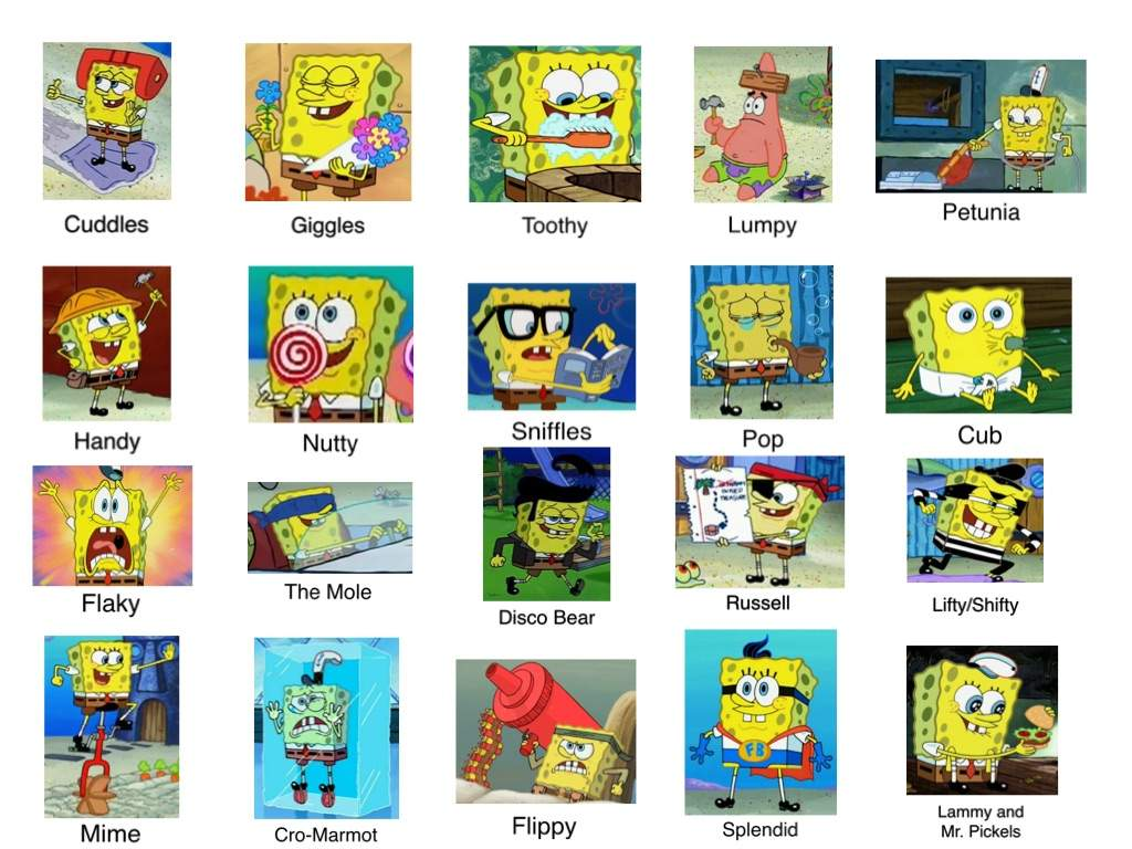 htf characters and tv episodes portrayed by spongebob happy tree