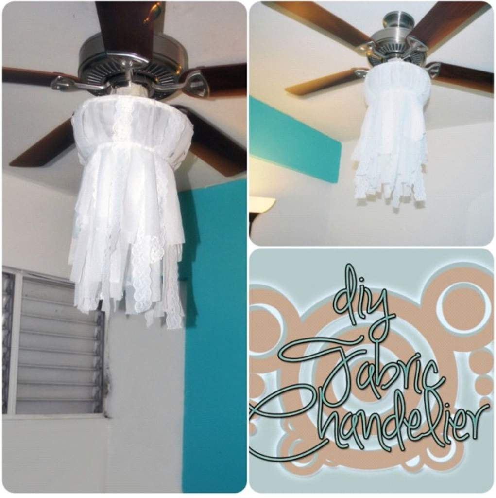 My very first diy fabric chandelier home decor organization super cute and soft way to add an ethereal touch to any room very easy to make i will try to find the link to the instructions later aloadofball Images