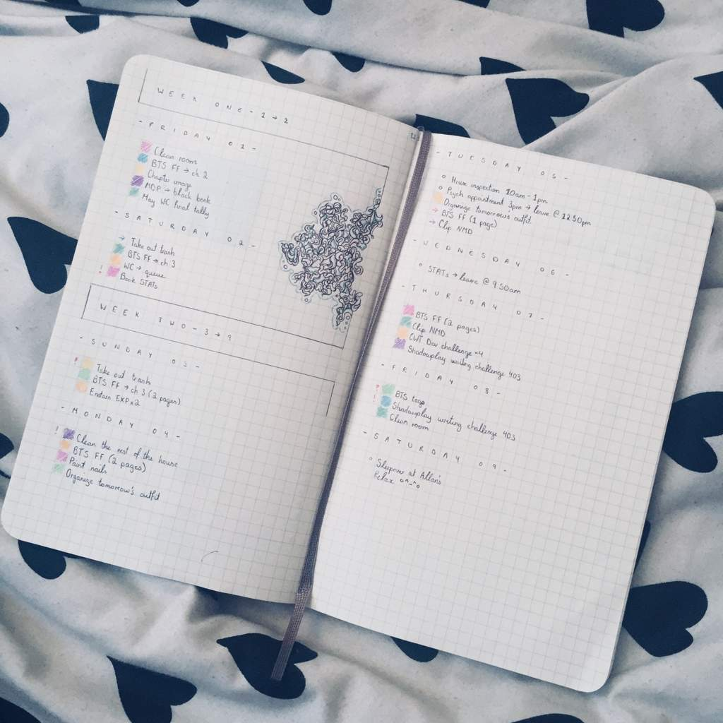 Weekly/Daily Spread - June 1 - 9 | Bullet Journal Amino