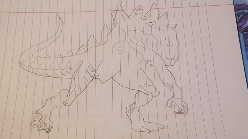 So Today I Was Drawing Zilla Because Printid A Coloring Page Dicited To Draw It Here Is Hope U Injoy