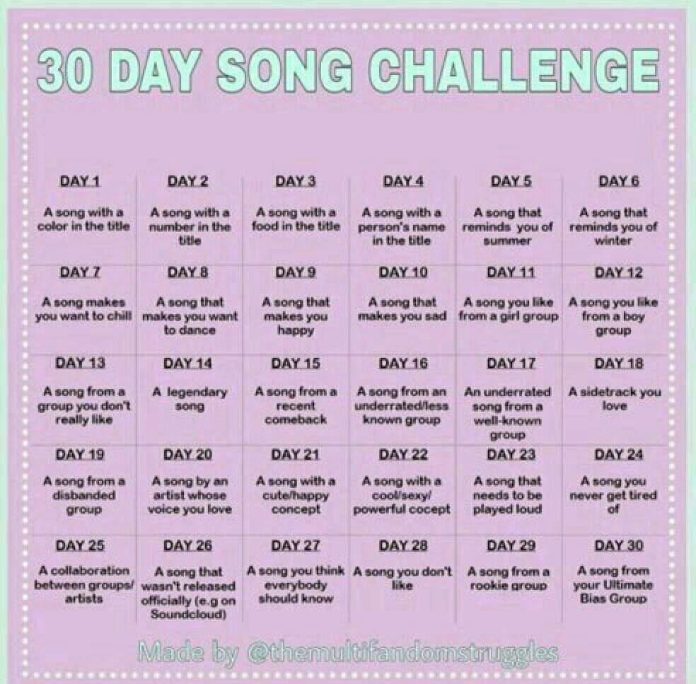 30 Day Song Challenge K Pop Amino