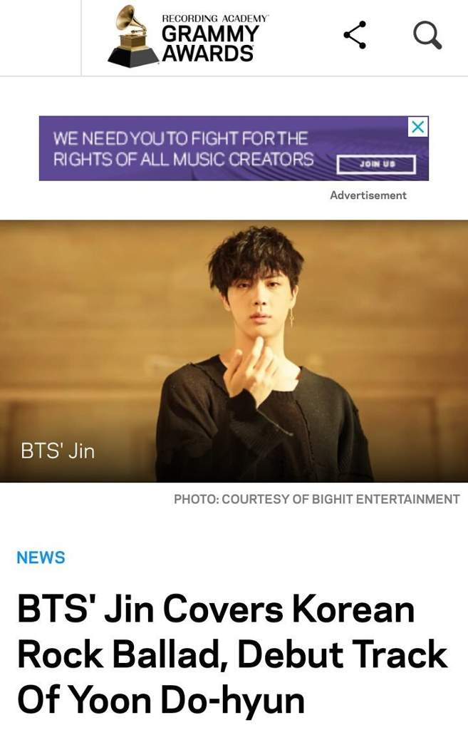 LATE POST]Grammy Awards article about BTS Jin | ARMY's Amino