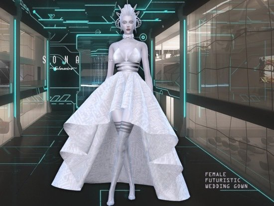 Helsoseira\'s SONA - Futuristic Wedding Gown - Mesh Needed | Sims Amino
