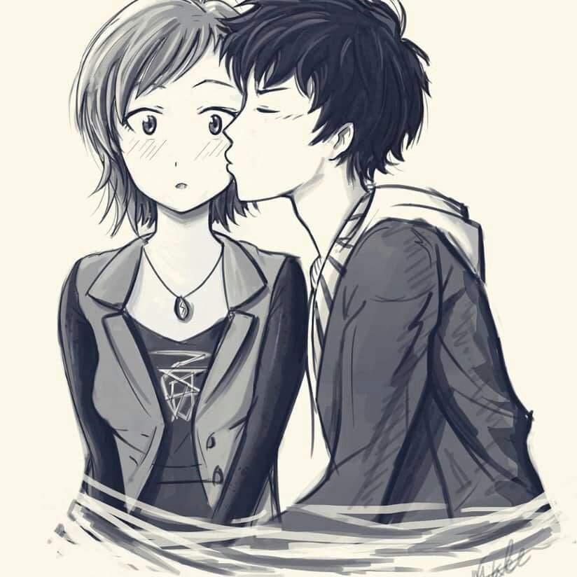 Картинки аниме поцелуй в щеку, развода
