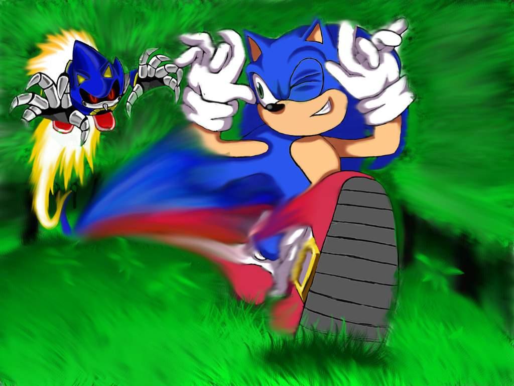 Sonic Vs Metal Sonic Race Art Smash Amino