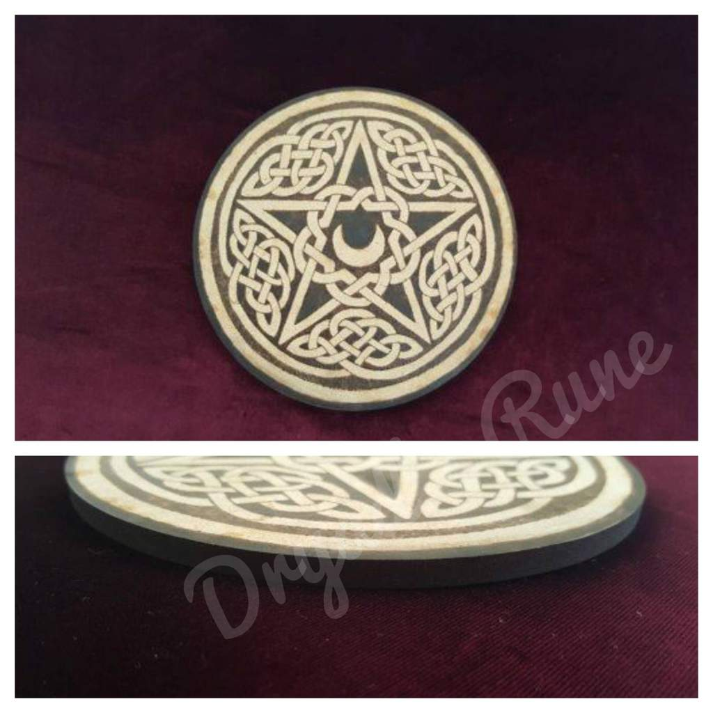 Celtic Knot Horned Moon Pentacle Altar Tile Pagans Witches Amino
