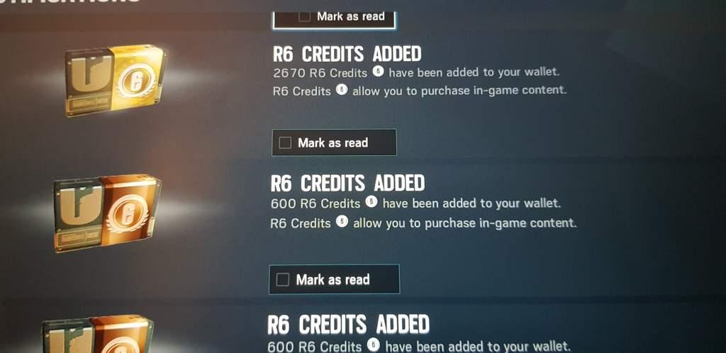 R6 Credits Locked