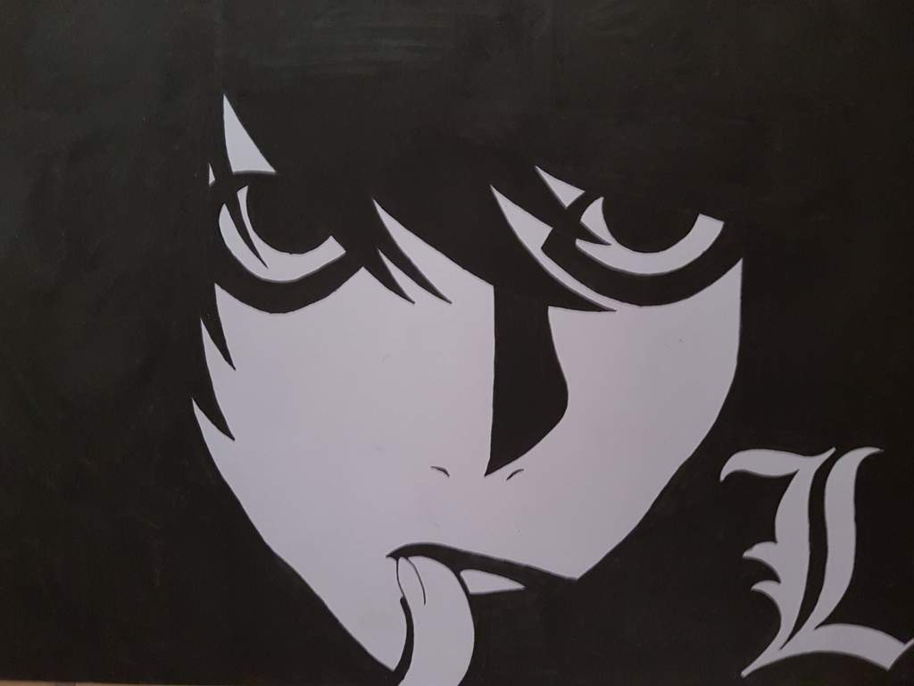 L death note black and white drawing anime amino