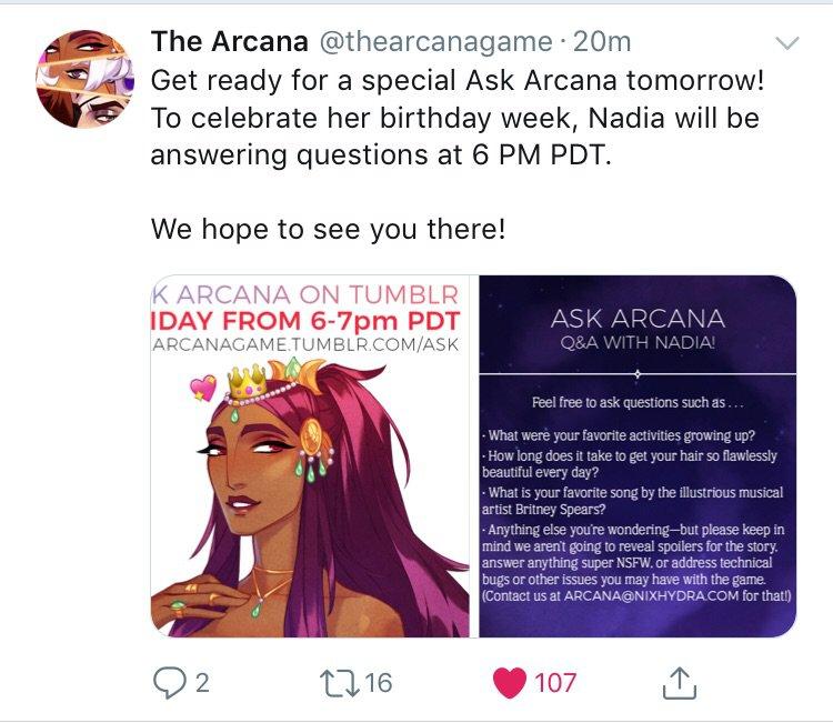 Nadia's Ask Arcana! 💖✨   The Arcana: Visual Novel Amino