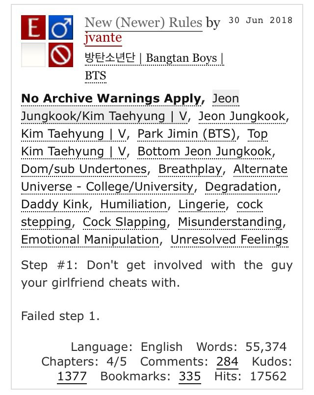 Fanfics Recommended By Me Part 10 (Bottom Kookie Special