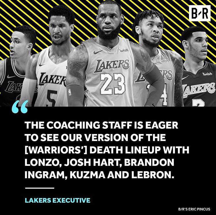 """51ad3eb55de Lakers Possibly Testing Their """"Death Lineup"""" With LeBron At Center ..."""