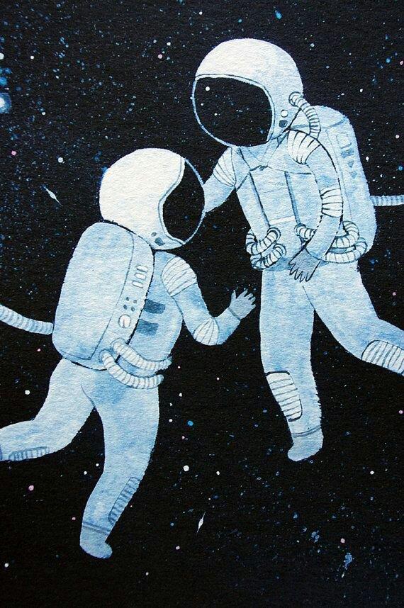 Картинка космонавт в космосе нарисовать