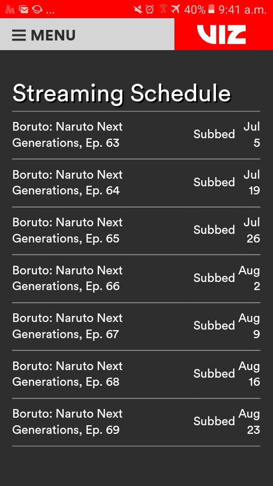 Schedule for Boruto: Naruto Next Generations Episode 63-69