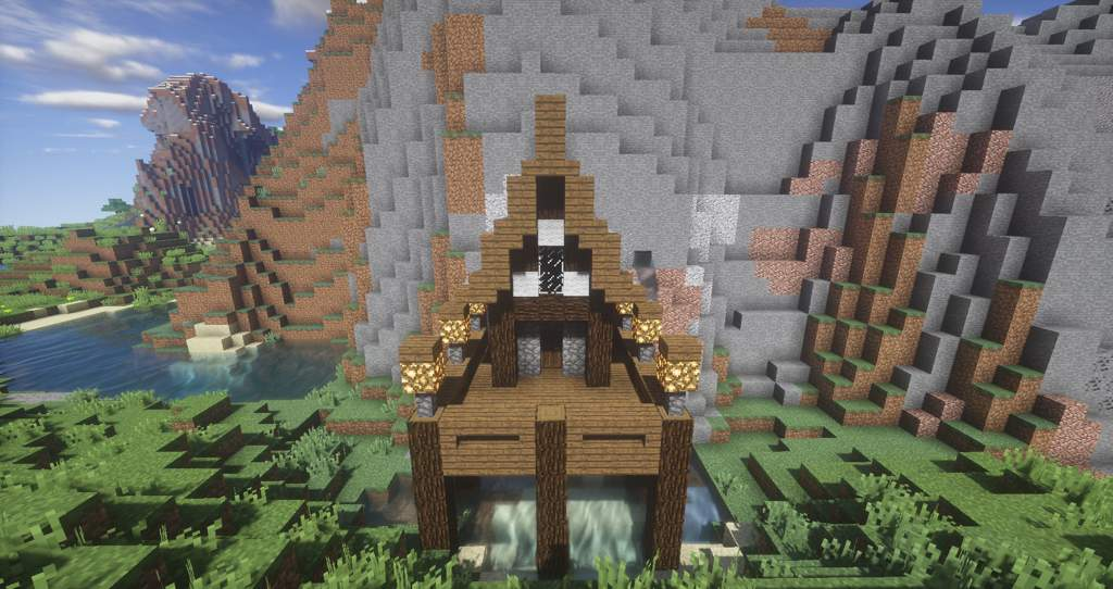 minecraft house built into mountain