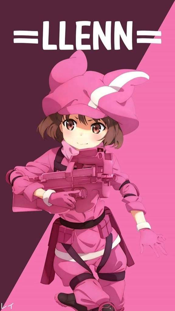 Llen Is The Main Character Of Gun Gale Online Spin Off Series She Also Known As Pink Devil ピンクの悪魔 In Because Well Wears All