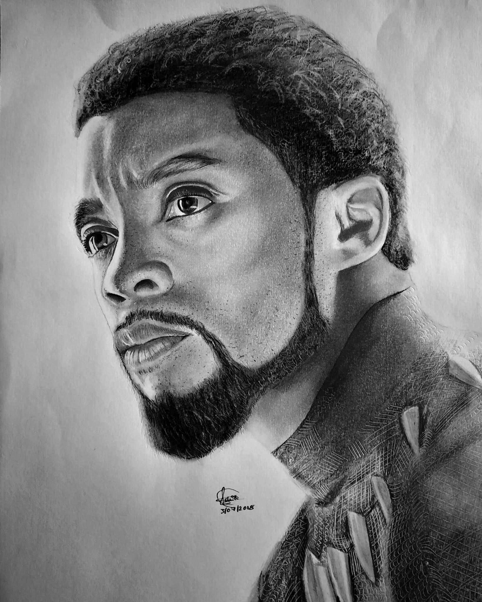Pencil Drawing Of Black Panther Chadwick Boseman Arts And Ocs Amino
