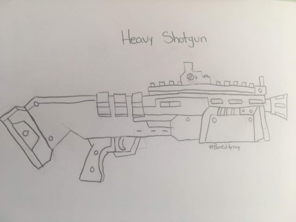 Weapons Drawing Heavy Shotgun Compact Smg And Revolver