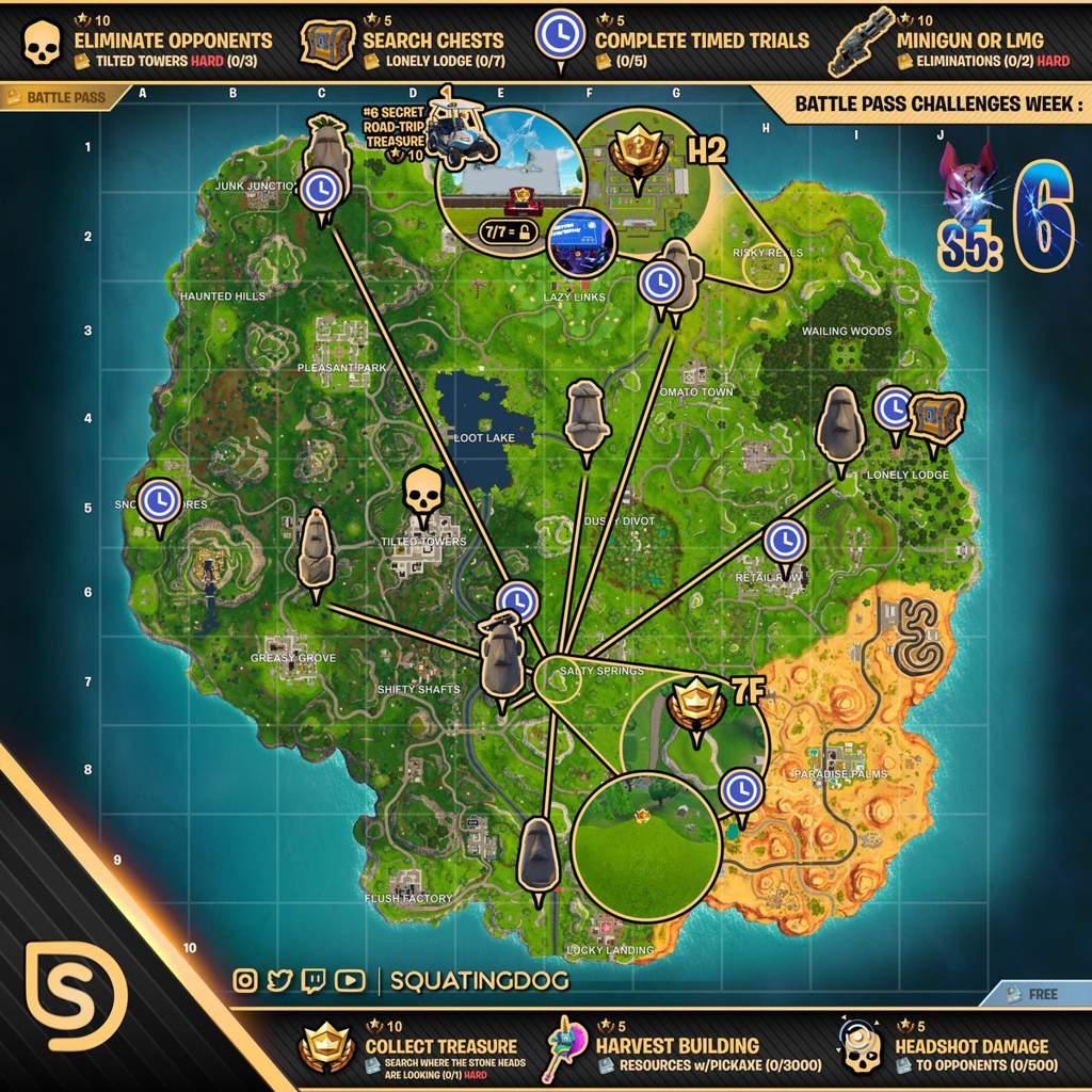 desafios semana 6 - mapa desafios fortnite semana 6