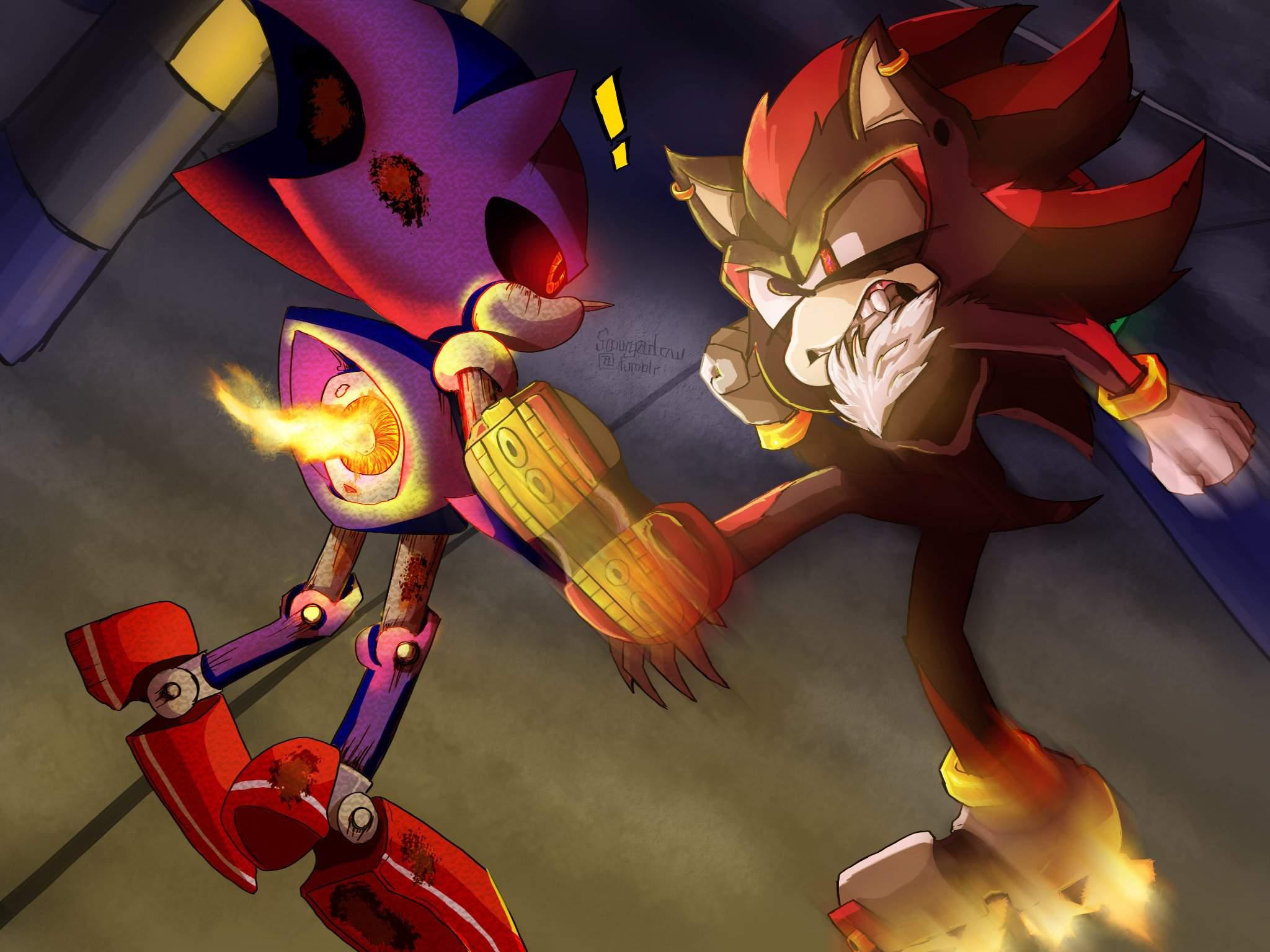 Shadow Vs Metal Sonic Sonic The Hedgehog Art Amino