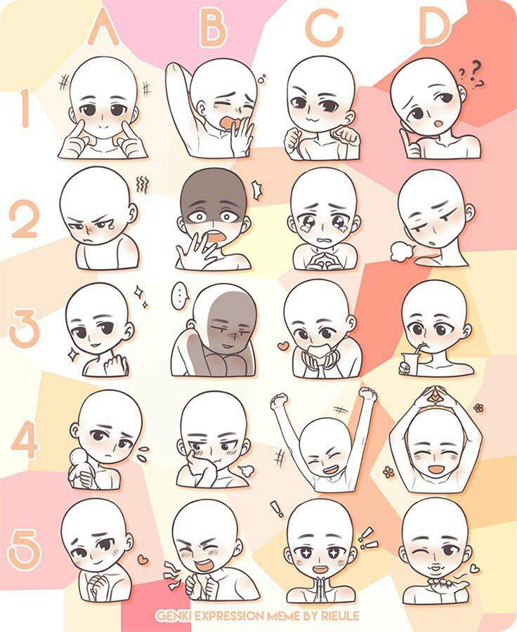 Anime Facial Expression Charts
