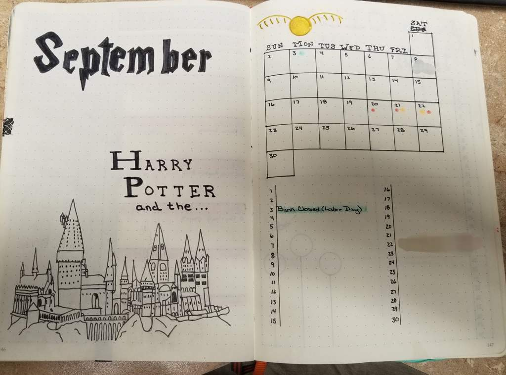 September Spread - Harry Potter Theme | Bullet Journal Amino