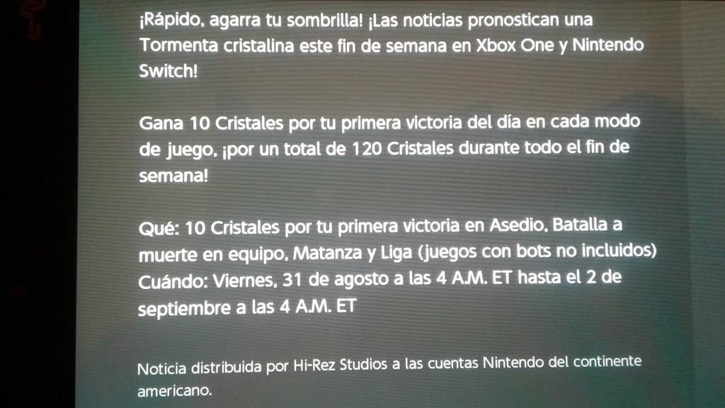 Cristales Gratis Solo Para Nintendo Switch Y Xbox One Paladins