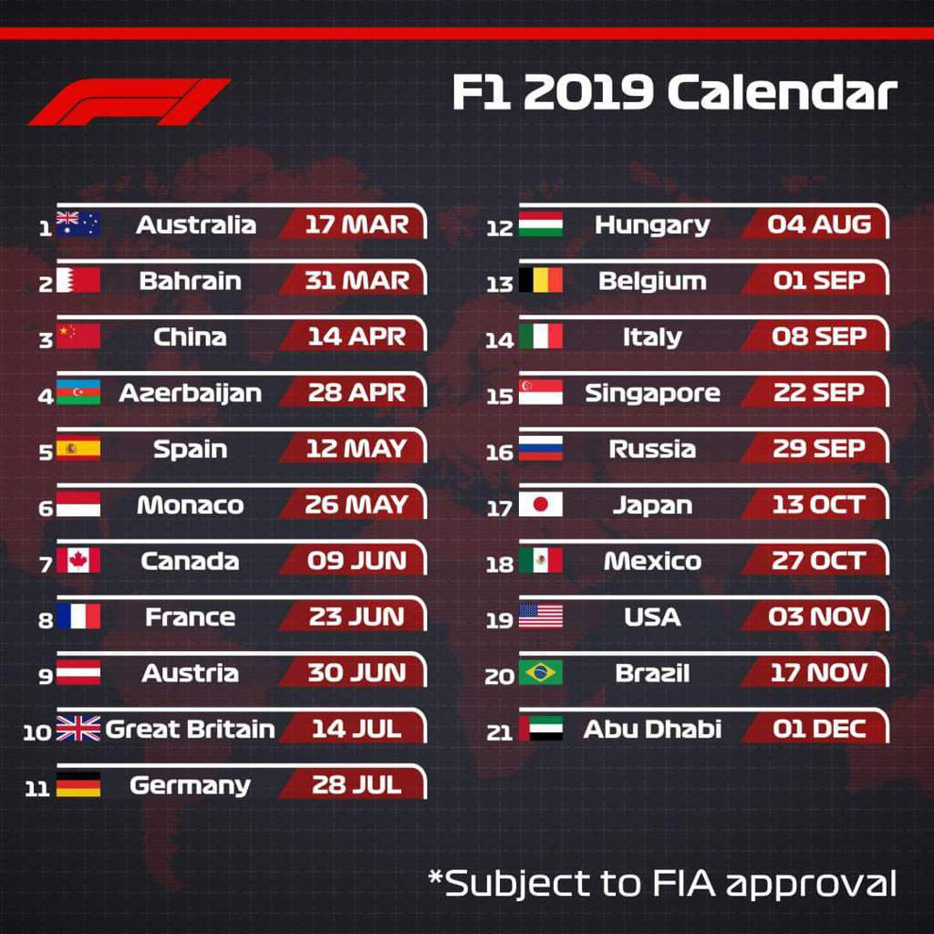 F1 2019 Calendar ✨2019 F1 Calendar✨ | Formula 1 Amino
