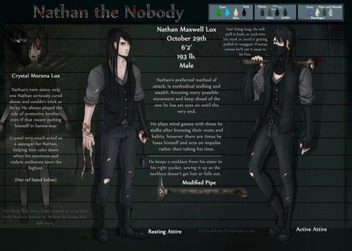 Creepypasta: Nathan the Nobody NEW Ref sheet | MrCreepyPasta Amino