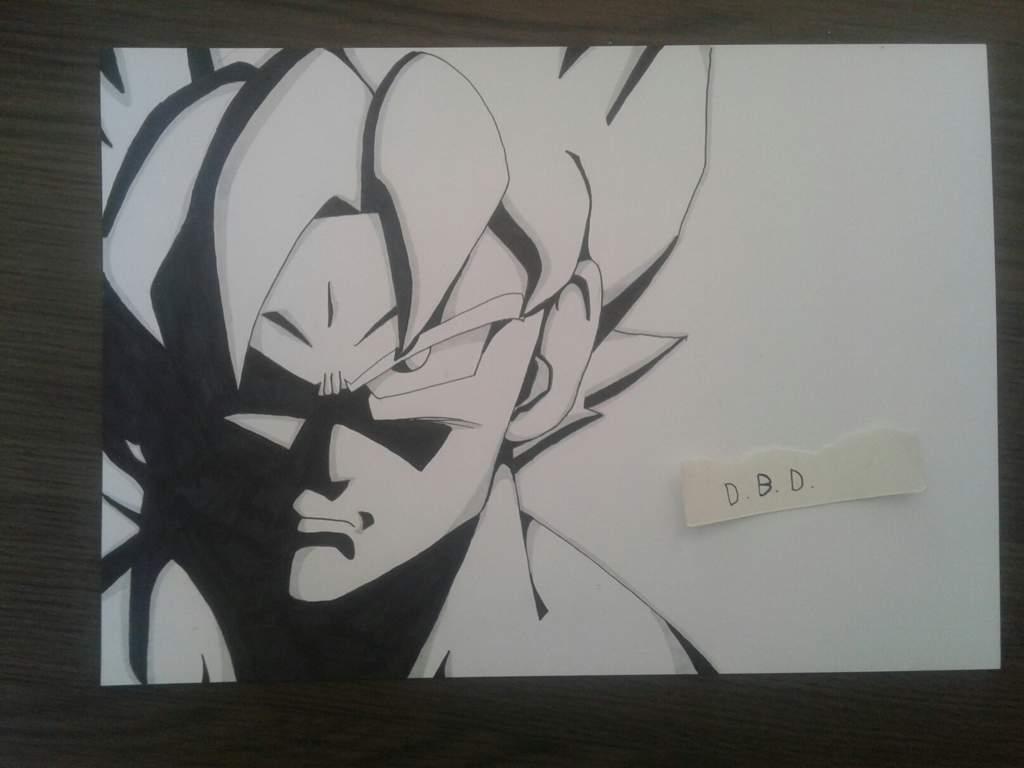 Mon Dessin De Goku Ssj En Noir Et Blanc Avec Un Style Année