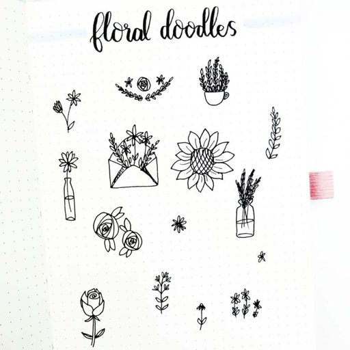 "Bullet journal • calligraphy on Instagram: ""FLORAL DOODLES I"