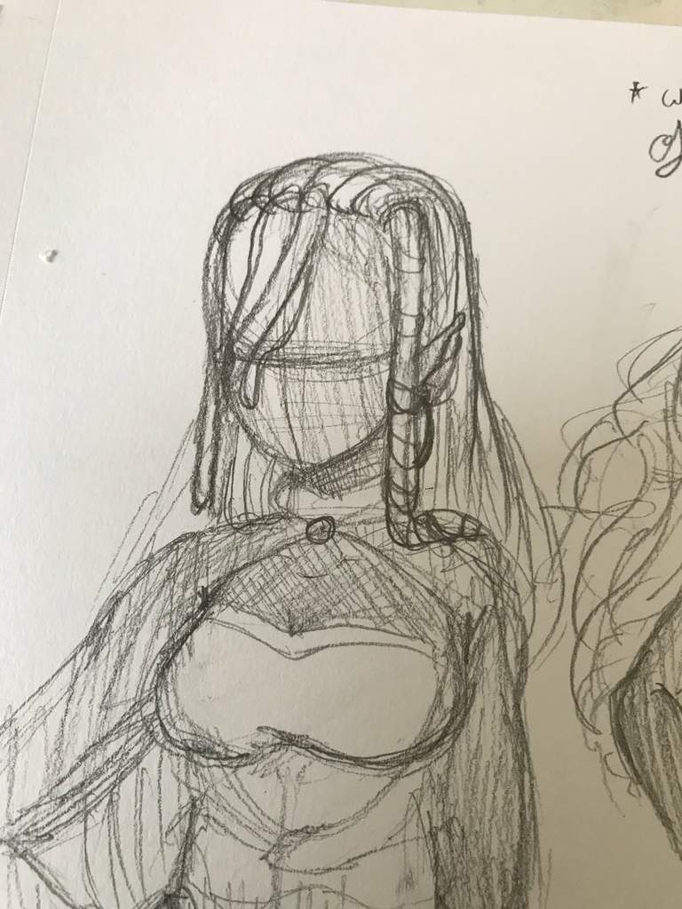 So heres the sketches in traditional since i liked the clothes for her i left it alone but the hair i couldnt decide so i drew three types of hair