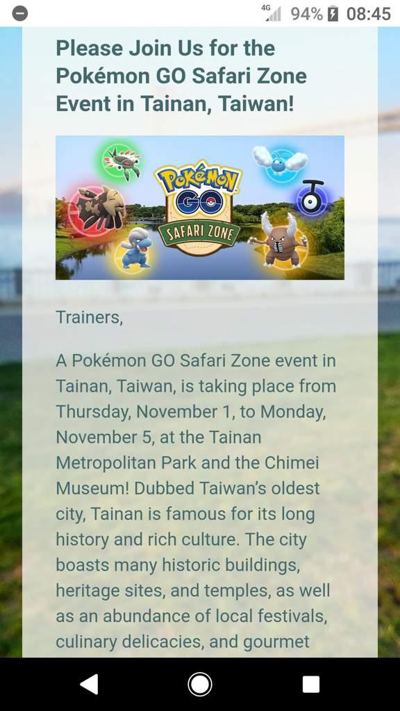 Please Join Us for the Pokémon GO Safari Zone Event in