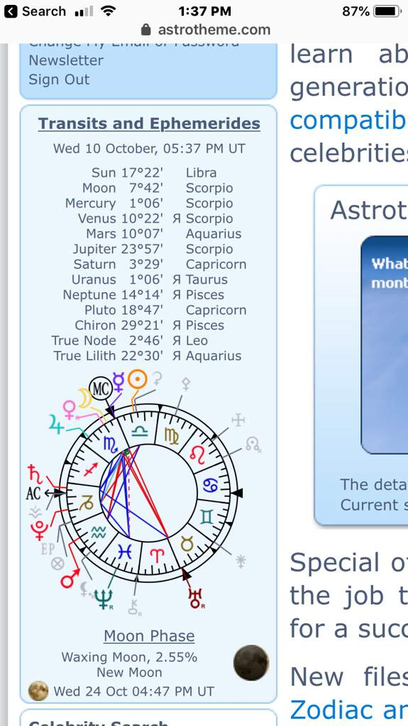 Chart at the moment/ transits for Oct 10 & 11th | Zodiac Amino