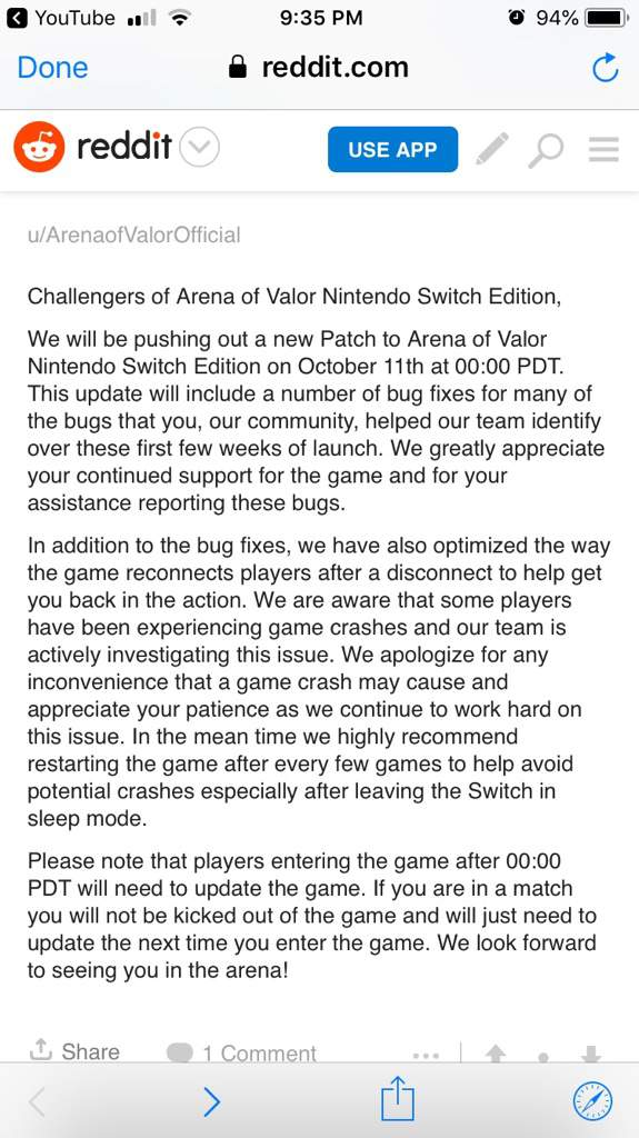 Arena Of Valor Switch Update