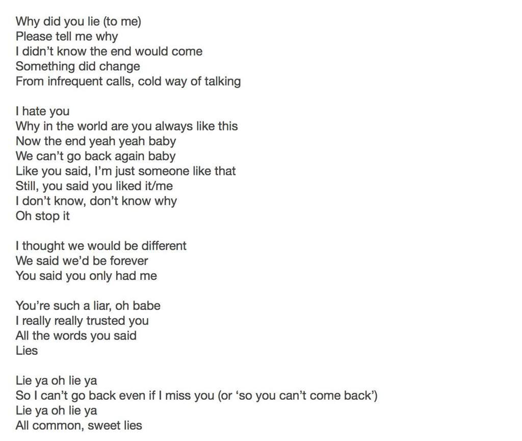 LIE YA - Rough Lyrics Translation | MAMAMOO Amino