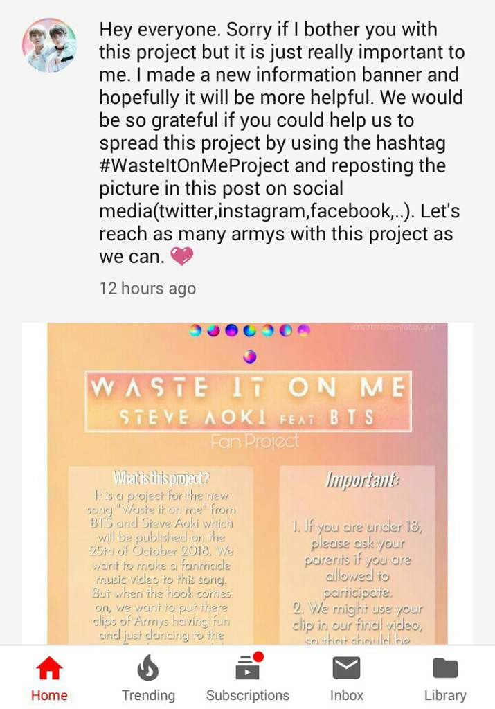Anyone taking part in the waste it on me project?? | ARMY's