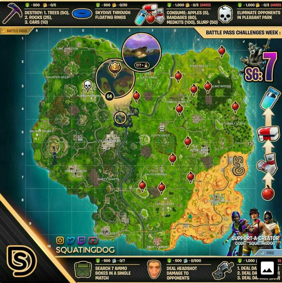 Fortnite Week 7 Challenges Cheat Sheet Fortnite Battle Royale