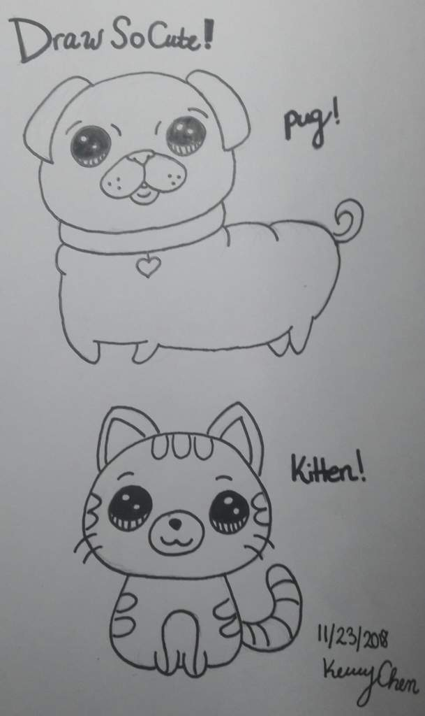 Draw So Cute Animals Pug Kitten November 23 2018 Doodles And