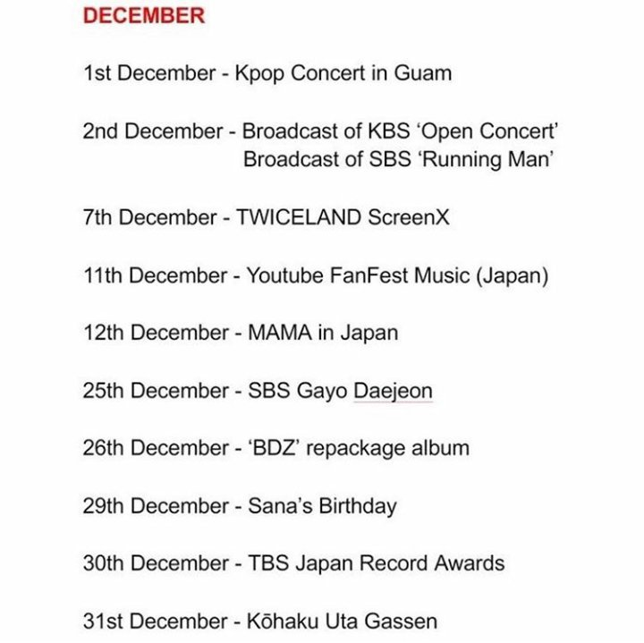 Twice Schedule For 2018 2019 Twice 트와이스 ㅤ Amino