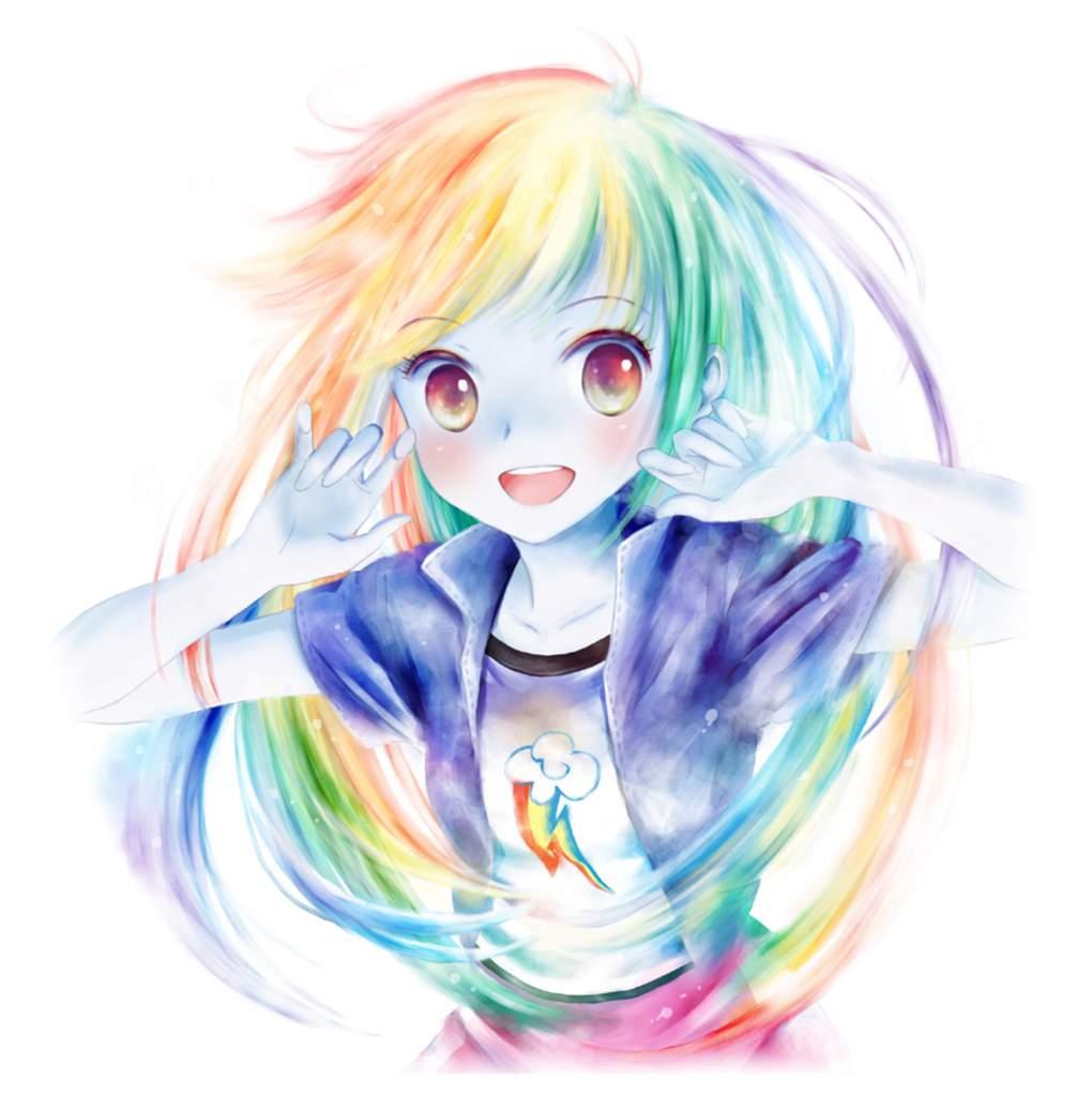 Аниме картинки девушек с радужными волосами