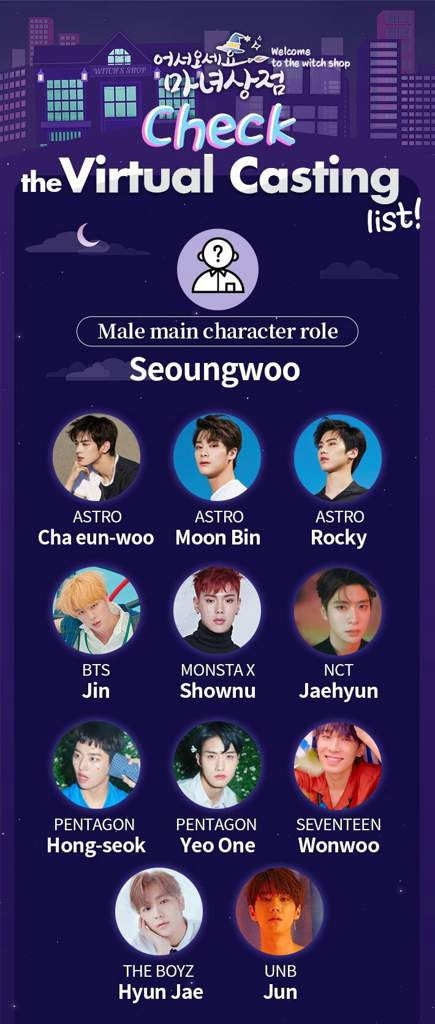 Seventeen Wonwoo is listed as one of the virtual cast for