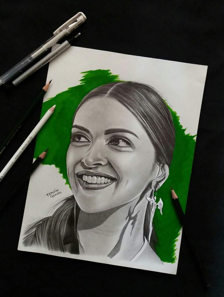 My graphite pencil drawing of indian movie actress deepika padukone